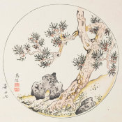 Ten Bamboo Studio - Pine in Round Design, 1633 (Ming Dynasty)