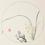 Ten Bamboo Studio - Orchids and Lingzhi Fungi in Round Design, 1633 (Ming Dynasty)