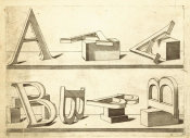 Hans Lencker - Perspectiva Literaria, plate 2: letters A and B, 1567