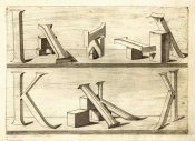 Hans Lencker - Perspectiva Literaria, plate 6: letters I and K, 1567