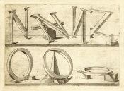Hans Lencker - Perspectiva Literaria, plate 8: letters N and O, 1567