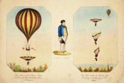 unknown British engraver - Robert Cocking; The Ascent of the Royal Nassau Balloon, with the Parachute attached, 1837