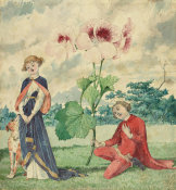 Charles Altamont Doyle - Fairy Prince Presenting a Pelargonium Flower to a Fairy Princess, 19th century