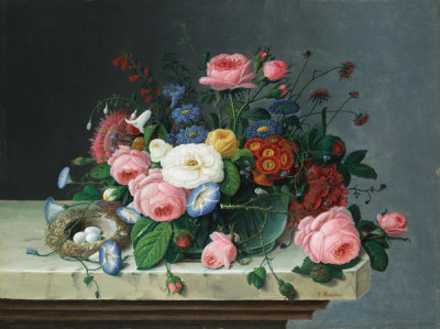 Severin Roesen - Still Life with Flowers and Bird's Nest, after 1860
