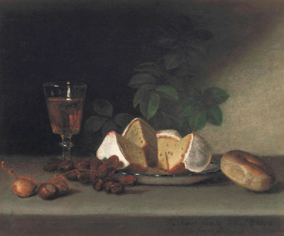 Raphaelle Peale - Still Life with Wine, Cake, and Nuts, 1819