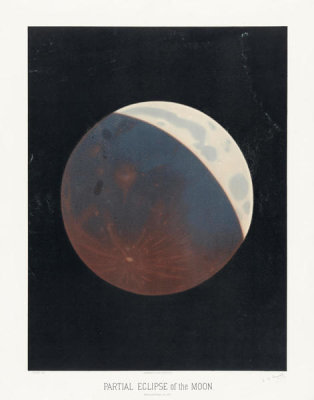 Etienne Léopold Trouvelot - Partial eclipse of the moon, 1881