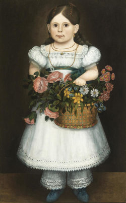 unknown American artist - Girl with Flowers, early to mid-19th century