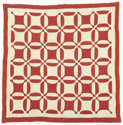 unknown American - Red and White Garden Maze Quilt, n.d.