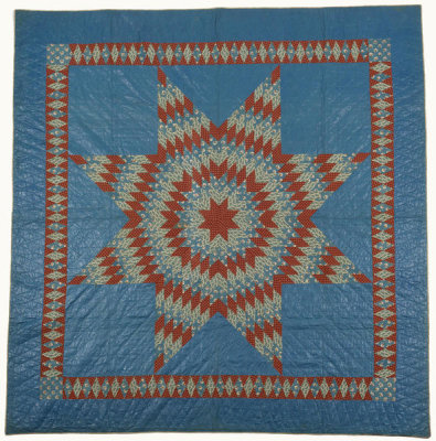 unknown American - Lone Star Quilt Top - Red, White and Blue, ca. 1850