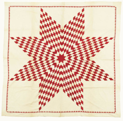 unknown American - Lone Star Quilt Top - Red and White, n.d.
