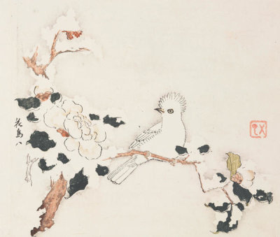 Ten Bamboo Studio - Bird on Camellia Branch in Snow, 1633 (Ming Dynasty)
