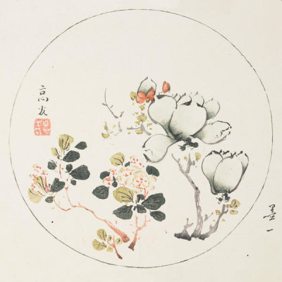Ten Bamboo Studio - Magnolia and Crabapple flowers in Round Design, 1633 (Ming Dynasty)