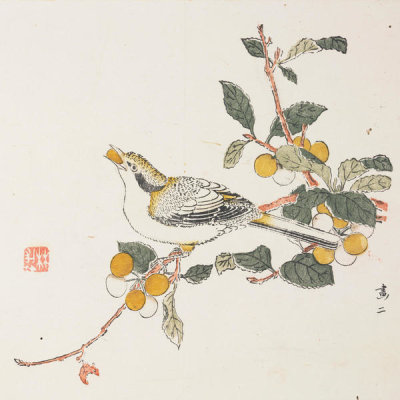 Ten Bamboo Studio - Bird Eating Fruit, 1633 (Ming Dynasty)