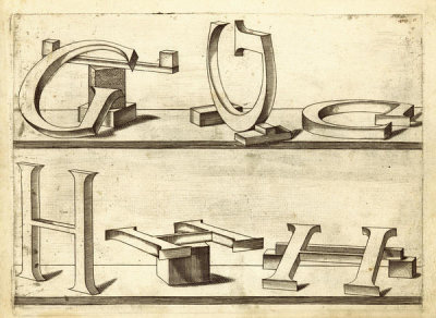 Hans Lencker - Perspectiva Literaria, plate 5: letters G and H, 1567