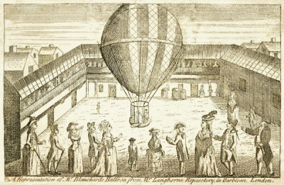 Unknown British engraver - A Representation of Mr. Blanchard's Balloon...in Barbican, London, 179?