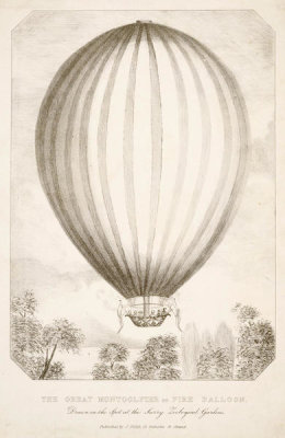 unknown British engraver - The Great Montgolfier or Fire Balloon. Drawn on the Spot at the Surry Zoological Gardens, 1838