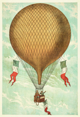 unknown engraver - Air balloon with Italian flags, n.d.