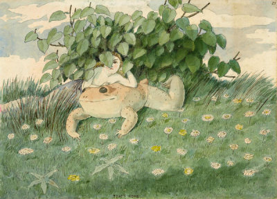 Charles Altamont Doyle - A Fairy Girl Reclining on a Toad Beneath a Small Shrub, 19th century