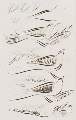 Unknown Artist - [Paper with drawings of ornamental penmanship birds, feathers, and signatures], approximately 1860-1869